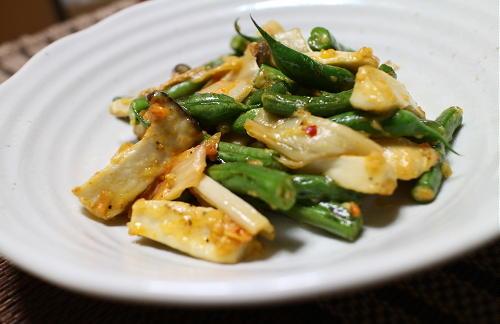 今日のキムチレシピ:エリンギといんげんのキムマヨ炒め