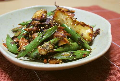 今日のキムチ料理レシピ:さやいんげんとキムチのごま炒め