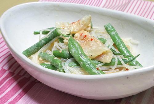今日のキムチ料理レシピ:いんげんとキムチの春雨サラダ