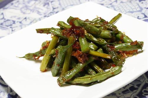 今日のキムチ料理レシピ:いんげんとにんにくの芽のピリ辛おかか炒め