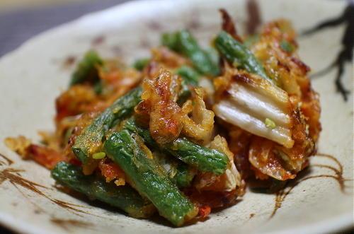 今日のキムチレシピ:いんげんとキムチのかき揚げ