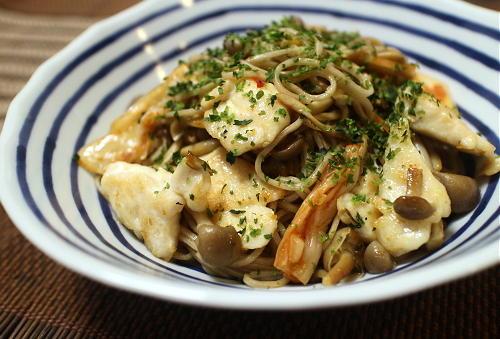 今日のキムチ料理レシピ:ささみとキムチの炒め蕎麦