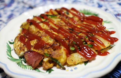 今日のキムチレシピ:ジャガイモとアスパラとキムチのオープンオムレツ