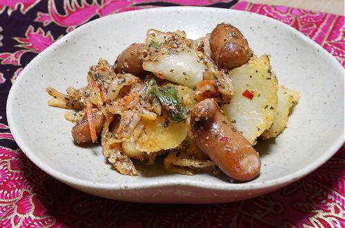 今日のキムチ料理レシピ:ジャガイモキムチのバジル和え