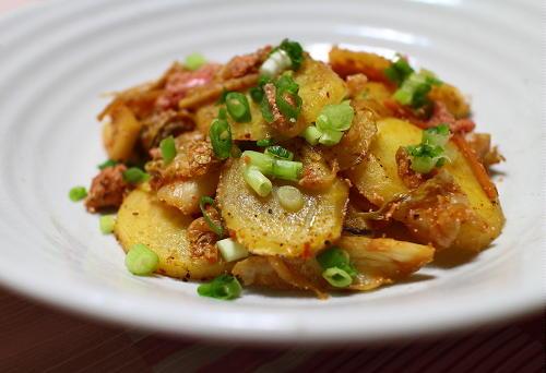 今日のキムチ料理レシピ:じゃがいものたらこキムチ炒め