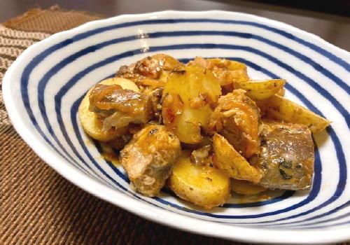 今日のキムチ料理レシピ:新じゃがとサバ缶のピリ辛味噌煮