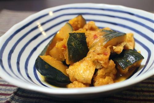 今日のキムチ料理レシピ:かぼちゃと油揚げのピリ辛バター煮