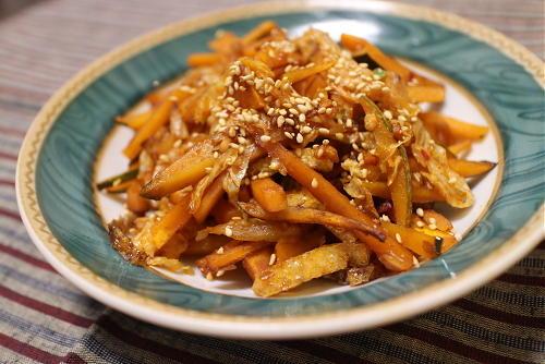 今日のキムチレシピ:かぼちゃと油揚げのキムチきんぴら