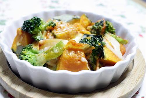 今日のキムチ料理レシピ:かぼちゃとキムチの和風チーズ焼き