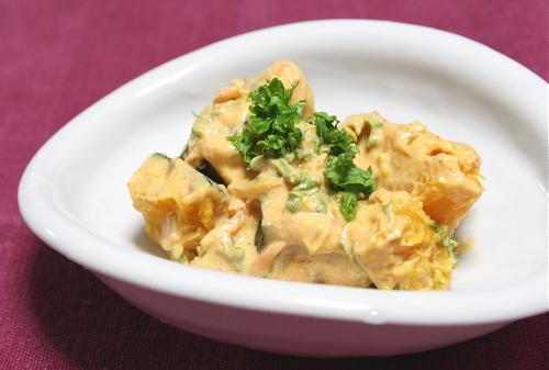 今日のキムチ料理レシピ:かぼちゃのキムチクリームチーズ和え