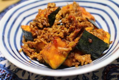 今日のキムチ料理レシピ:カボチャのピリ辛ひき肉炒め