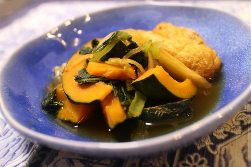 今日のキムチ料理レシピ:かぼちゃと小松菜のキムチ煮