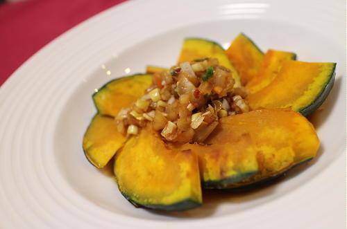 今日のキムチ料理レシピ:かぼちゃのねぎキムチだれ