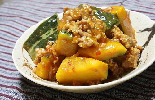 今日のキムチ料理レシピ:カボチャのピリ辛そぼろあん