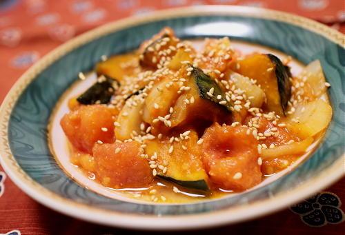 今日のキムチ料理レシピ:マトとかぼちゃのピリ辛味噌和え