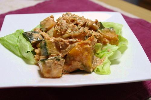 今日のキムチ料理レシピ:南瓜とキムチのサラダ