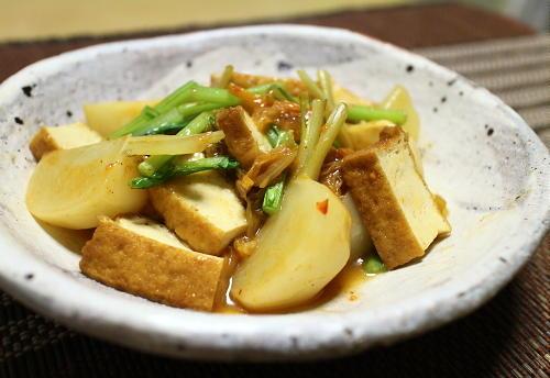今日のキムチ料理レシピ:厚揚げとかぶのキムチ煮