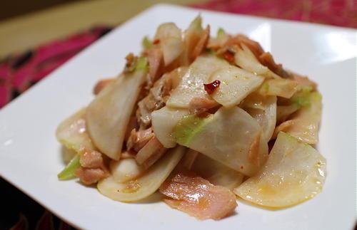 今日のキムチレシピ:鮭とかぶのピリ辛サラダ