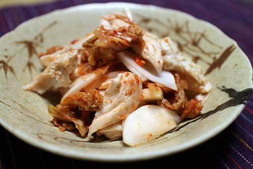 今日のキムチ料理レシピ:ささみとかぶのキムチ和え