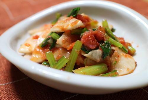 今日のキムチ料理レシピ:カブのピリ辛たらこ和え