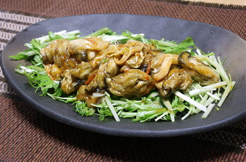 今日のキムチ料理レシピ:カキとキムチのオイスターソース炒め