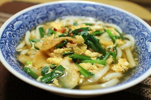 今日のキムチ料理レシピ:かき玉キムチうどん