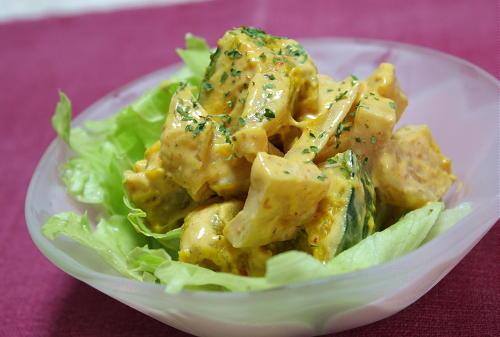 今日のキムチ料理レシピ:かぼちゃとカクテキのサラダ