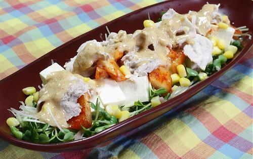 今日のキムチ料理レシピ:豆腐と冷しゃぶカクテキサラダ
