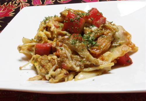 今日のキムチ料理レシピ:カニカマとキムチの卵炒め