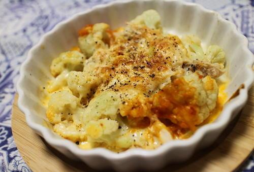 今日のキムチ料理レシピ:カリフラワーのツナキムチチーズ焼き