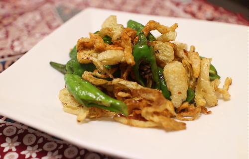 今日のキムチ料理レシピ:シシトウと油揚げのピリ辛焼き