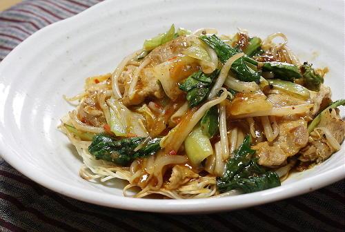 今日のキムチ料理レシピ:キムチやかた焼きそうめん