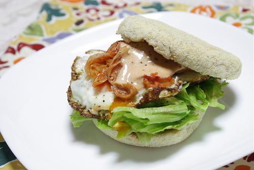 今日のキムチ料理レシピ:キムチエッグマフィン
