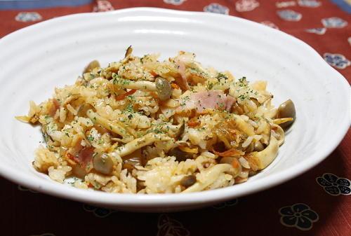 今日のキムチ料理レシピ:きのこキムチチャーハン