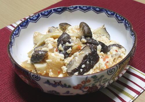 今日のキムチ料理レシピ:きのこのキムチ白和え