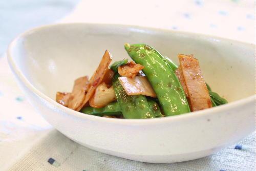 今日のキムチ料理レシピ:さやえんどうとキムチのオイスターソース炒め