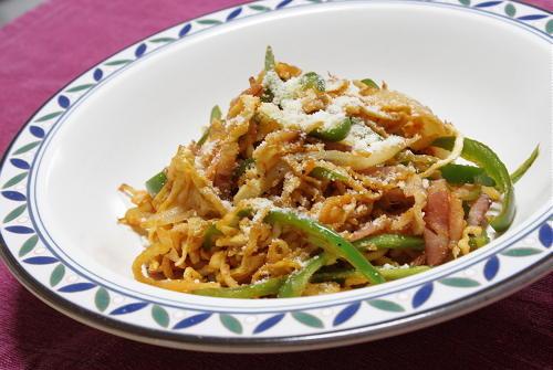 今日のキムチ料理レシピ:切り干し大根のキムチナポリタン