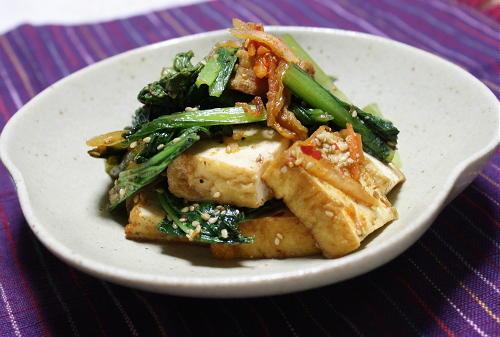 今日のキムチ料理レシピ:小松菜と厚揚げのキムチ炒め