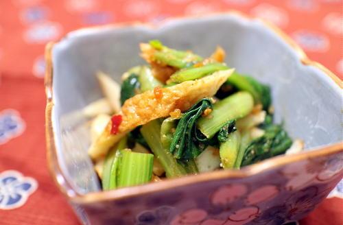 今日のキムチ料理レシピ:小松菜とちくわのピリ辛胡麻和え