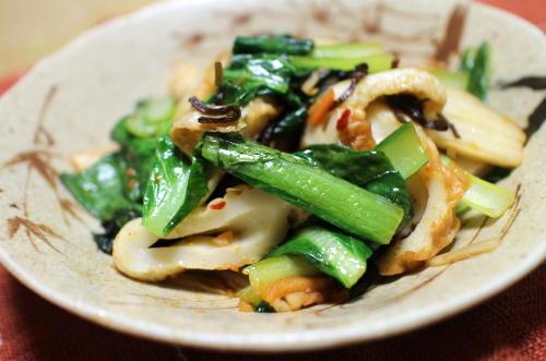 今日のキムチレシピ:小松菜とちくわのキムチ炒め