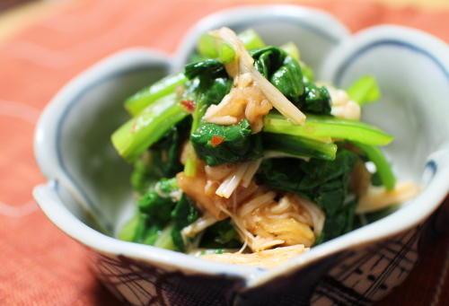 小松菜とえのきの梅キムチ和えレシピ