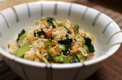 今日のキムチレシピ:小松菜キムチの混ぜご飯