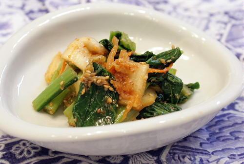 今日のキムチ料理レシピ:小松菜とキムチのごま和え