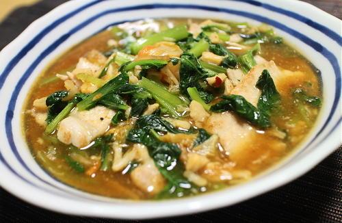 今日のキムチレシピ:小松菜とキムチのホタテあん