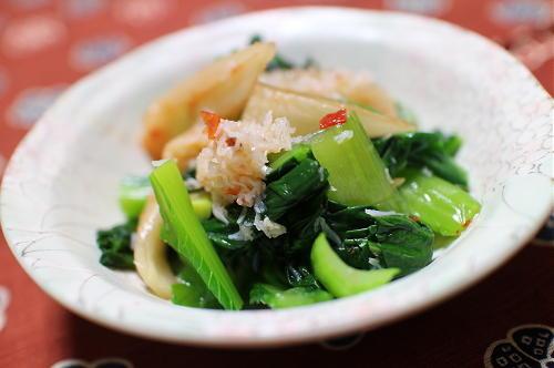 今日のキムチレシピ:小松菜のカニキムチ和え