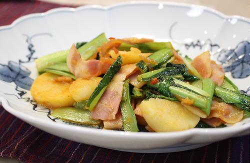 小松菜とポテトのキムチ炒めレシピ