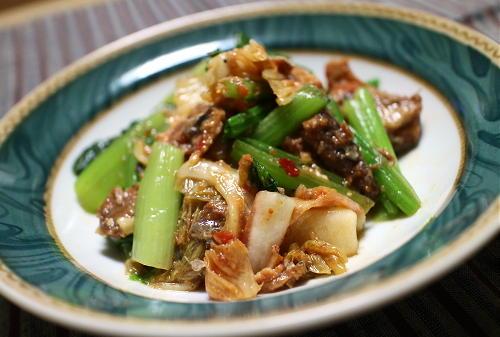 今日のキムチレシピ:小松菜のサバキムチ和え