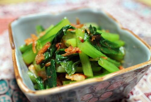 今日のキムチ料理レシピ:小松菜のピリ辛桜エビ和え