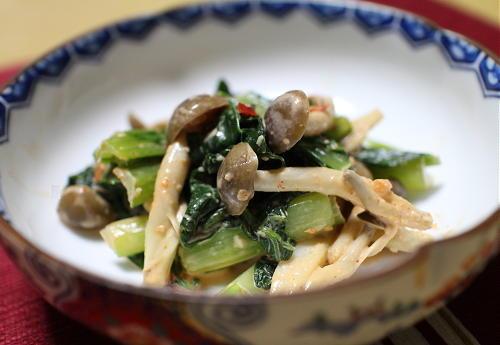 今日のキムチ料理レシピ:小松菜としめじのキムマヨ和え