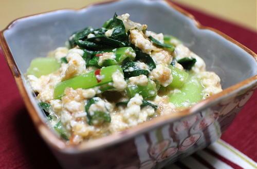 今日のキムチ料理レシピ:小松菜のキムチ白和え